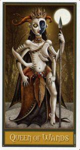 Королева Жезлов Таро Девиантной Безумной Луны Deviant Moon Tarot