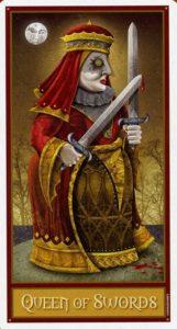 Королева Мечей Таро Девиантной Безумной Луны Deviant Moon Tarot