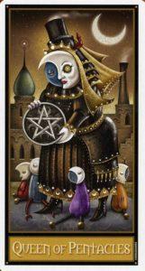 Королева Пентаклей Таро Девиантной Безумной Луны Deviant Moon Tarot
