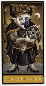 Король Пентаклей Таро Девиантной Безумной Луны Deviant Moon Tarot