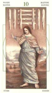 10 Жезлов (Булавы)Таро Леонардо Leonardo da Vinci Tarot