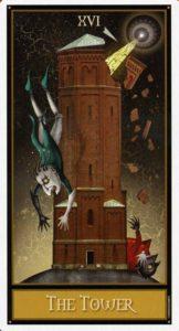 16 Башня Таро Девиантной Безумной Луны Deviant Moon Tarot