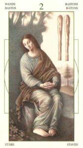 2 Жезлов (Булавы)Таро Леонардо Leonardo da Vinci Tarot