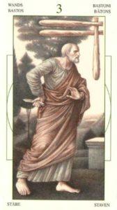 3 Жезлов (Булавы)Таро Леонардо Leonardo da Vinci Tarot