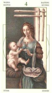 4 Жезлов (Булавы)Таро Леонардо Leonardo da Vinci Tarot