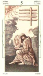 5 Жезлов (Булавы)Таро Леонардо Leonardo da Vinci Tarot