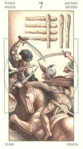 7 Жезлов (Булавы)Таро Леонардо Leonardo da Vinci Tarot