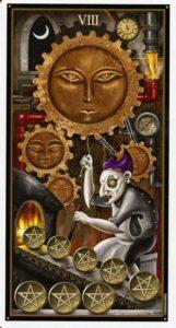 8 Пентаклей Таро Девиантной Безумной Луны Deviant Moon Tarot
