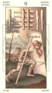 9 Жезлов (Булавы)Таро Леонардо Leonardo da Vinci Tarot